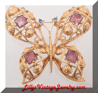AVON Golden Dimensional Butterfly Brooch
