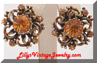 Vintage CORO Antiqued Golden Amber Rhinestones Earrings