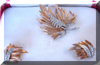 Vintage Kramer Rhinestones Leaf Brooch Earrings Set