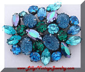Kramer blue green art glass rhinestones brooch