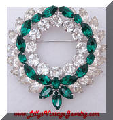 Kramer clear green rhinestones weath Brooch