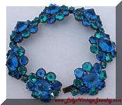 Kramer inverted blue green rhinestones bracelet