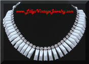 Kramer white milk glass rhinestones necklace