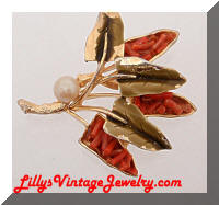 Vintage ART Coral Enamel Nature Leaves Brooch