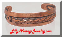 Vintage BELL Copper Braided Cuff Bracelet