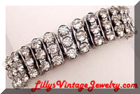 British Hong Kong Art Deco Rhinestones Expansion Bracelet