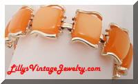Coro Orange Lucite Moonglow squares bracelet