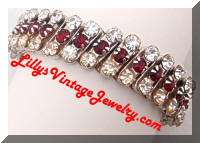 Vintage HONG KONG Red Rhinestones Expansion Bracelet