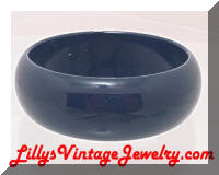Vintage Navy Blue Plastic Wide Bangle Bracelet