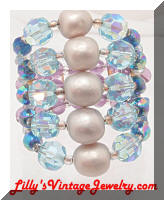 Pearls Blue Purple AB Crystal Beads Wrap Vintage Bracelet