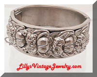 Vintage Silver Repousse Flowers Hinged Bracelet