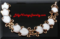 Vintage TRIFARI White Poured Glass Tulip Flowers Bracelet