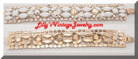 White Milk Glass AB Rhinestones Pearls Dangles Vintage Bracelet