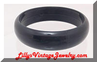 Vintage Black Plastic Bangle Bracelet