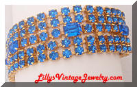 Bright Blue rhinestones wide bracelet