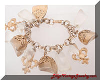 Vintage Golden Clear Nuggets Fleur DeLis Charms Bracelet