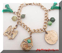 Golden Green Charms Vintage Bracelet