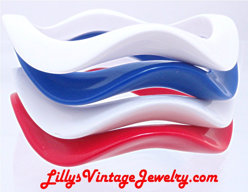 4 Patriotic Red White and Blue Wavy Plastic Bangle Bracelets