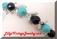 Turquoise Black Beaded Link Bracelet