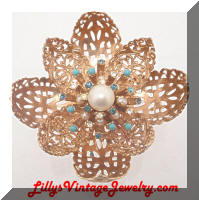 Vintage 3D Golden Pearls Rhinestones Flower Brooch