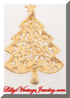 Golden Red Green Rhinestones Christmas Tree Brooch marked 4609