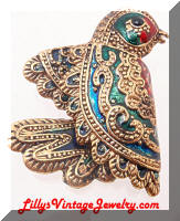 Artistic Heavy Detailed Enamel Bird Brooch