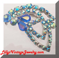 Bright AB Blue Rhinestones Open Leaf Brooch