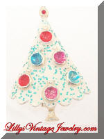 BJ White Enamel Glittery Christmas Tree Brooch