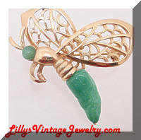 Vintage Golden faux Jade Butterfly Bug Brooch