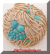 Capri Turquoise gold tone round brooch