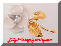 CERRITO White Enamel Golden Rose Flower Brooch