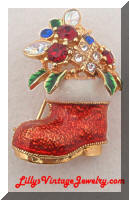 Vintage Jeweled Rhinestones Christmas Boot Brooch