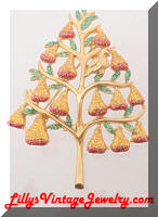 Christopher RADKO Partridge in a Pear Tree Christmas Brooch
