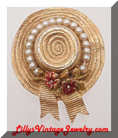 CINER Golden Sun Bonnet Pearls Brooch