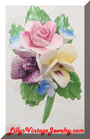 Vintage Porcelain Painted Floral Brooch