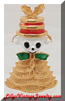 Cute COREL Christmas Bell Critter Brooch