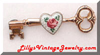 Vintage CORO Guilloche Enamel Rose Key Brooch