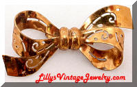 Vintage CORO Golden Bow Brooch