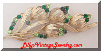 Coro green rhinestones flower brooch