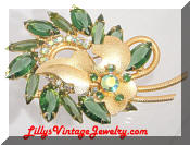 DeLizza Elster Green leaf Juliana Brooch