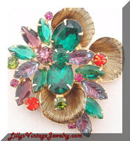 Juliana DeLizza Elster Green Purple Rhinestones Vintage Brooch
