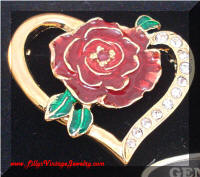 Genuine Ruby Enamel Rose Heart Brooch