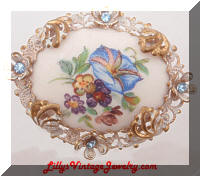 Vintage West GERMANY Floral Rhinestones Cameo Brooch