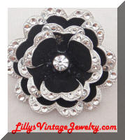 Germany Black Enamel Aluminum Flwer Brooch