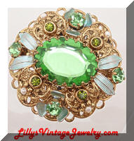Vintage GERMANY Green Rhinestones Enamel Filigree Brooch