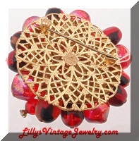 Vintage W. GERMANY Red Beads Rhinestones Cluster Brooch
