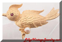 Cute Vintage Golden Bird Brooch