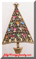 Vintage HOLLYCRAFT Rhinestones Golden Christmas Tree Brooch
