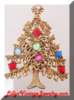 Vintage HOLLYCRAFT Golden Christmas Tree Brooch