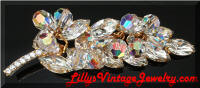 Vintage DeLizza and Elster Juliana AB Crystals Rhinestones Leaf Brooch